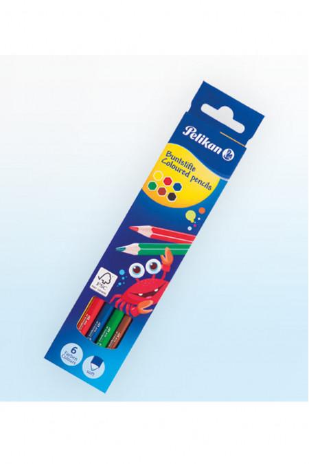 Pelikan Coloured Pencils Long 6 Colours